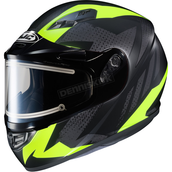 HJC Flat Black/Gray/Hi-Viz Neon Green CS-R3 Treague MC-3HF Snow Helmet w/Framed Electric Shield - 035-834