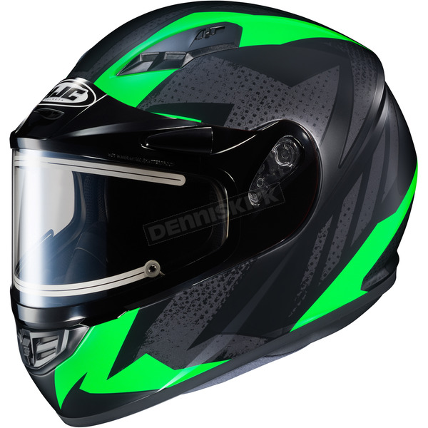 HJC Flat Black/Gray/Green CS-R3 Treague MC-4F Snow Helmet w/Framed Electric Shield - 035-843