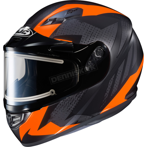 HJC Flat Black/Gray/Neon Orange CS-R3 Treague MC-6F Snow Helmet w/Framed Electric Shield - 035-865