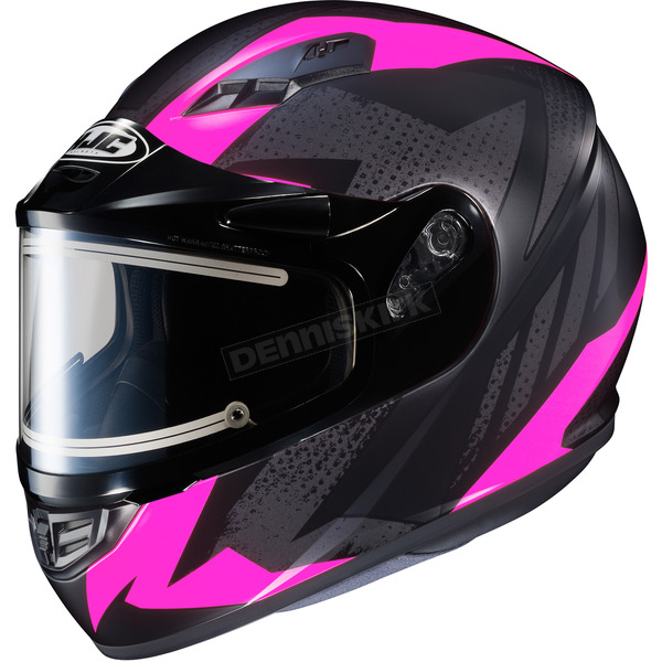 HJC Flat Black/Gray/Pink CS-R3 Treague MC-8F Snow Helmet w/Framed Electric Shield - 035-881