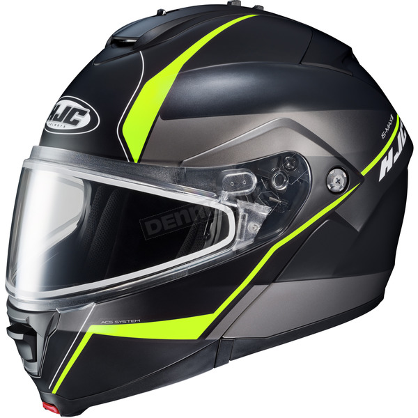 HJC Semi-Flat Black/Gray/Neon Greem IS-MAX 2 Mine MC-3HSF Snow Helmet w/Frameless Dual Lens Shield - 991-733