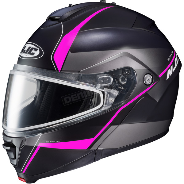 HJC Semi-Flat Black/Gray/Pink IS-MAX 2 Mine MC-8SF Snow Helmet w/Frameless Dual Lens Shield - 991-784
