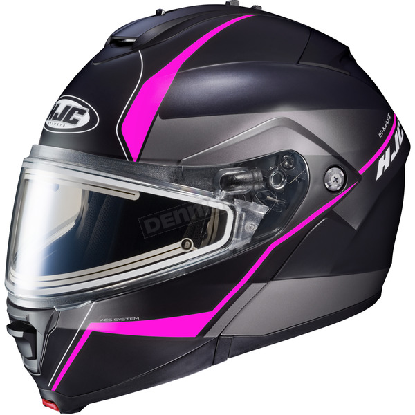 HJC Semi-Flat Black/Gray/Pink IS-MAX 2 Mine MC-8SF Snow Helmet w/Frameless Electric Shield  - 191-784