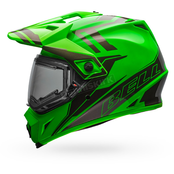 Bell Helmets Green/Titanium MX-9 Adventure Barricade Snow Helmet w/Electric Shield - 7075783