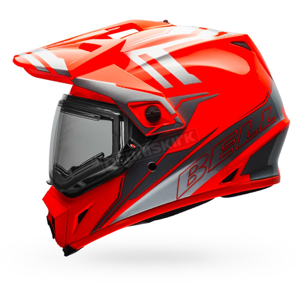 Bell Helmets Orange/Silver MX-9 Adventure Barricade Snow Helmet w/Electric Shield - 7075795