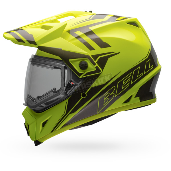 Bell Helmets Yellow/Titanium MX-9 Adventure Barricade Snow Helmet w/Electric Shield - 7075804