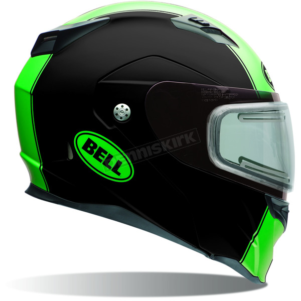 Bell Helmets Matte Black/Green Revolver EVO Rally Snow Helmet w/Electric Shield  - 7076229
