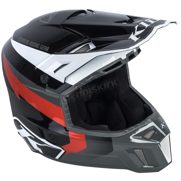 Klim Black/Gray Red Lightning F3 Helmet - 3110-000-150-004