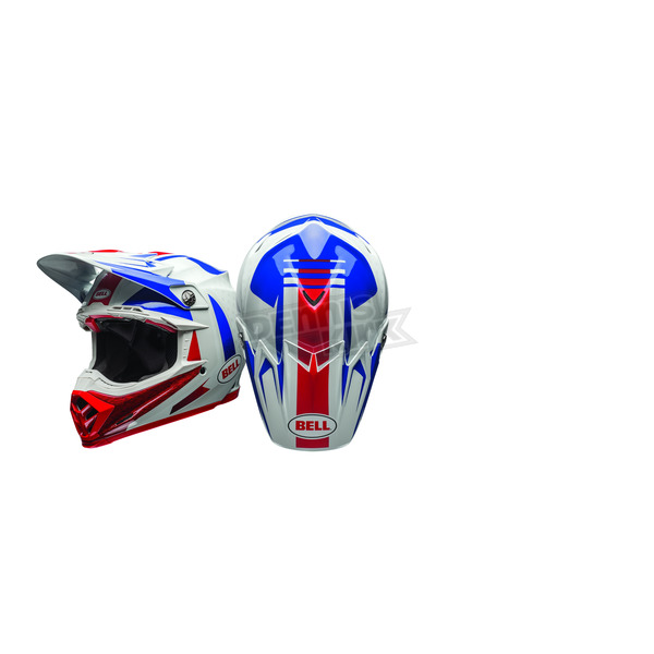 Bell Helmets White/Blue/Red Moto-9 Flex Vice Helmet - 7080730