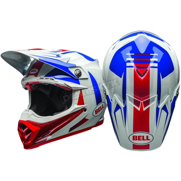 Bell Helmets White/Blue/Red Moto-9 Flex Vice Helmet - 7080728