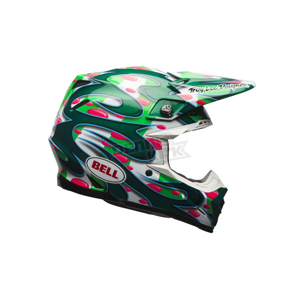 Bell Helmets Green/Red Moto-9 Flex McGrath Replica LE Helmet - 7084364
