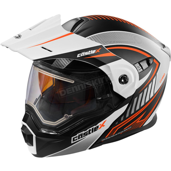 Castle X Flat White/Flo Orange EXO-CX950 Apex Snow Helmet w/Electric Shield - 45-29179