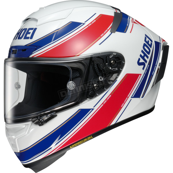 Shoei Helmets White/Red/Blue X-Fourteen Lawson TC-1 Helmet - 0104-1501-07