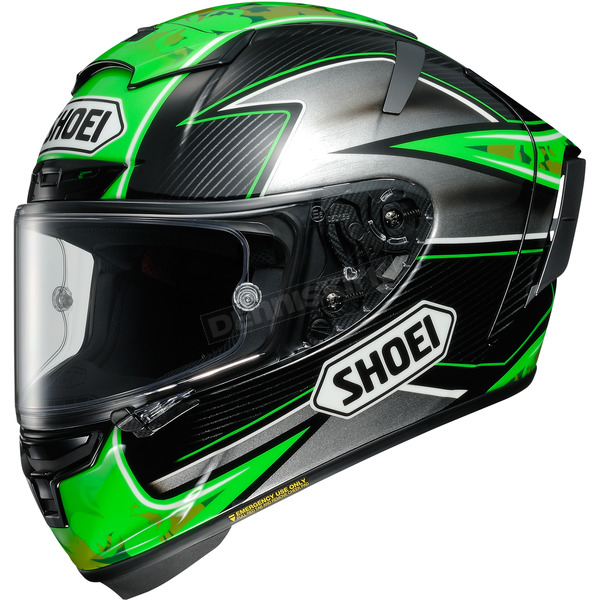 Shoei Helmets Green/Silver/Black X-Fourteen Laverty TC-4 Helmet - 0104-1604-06