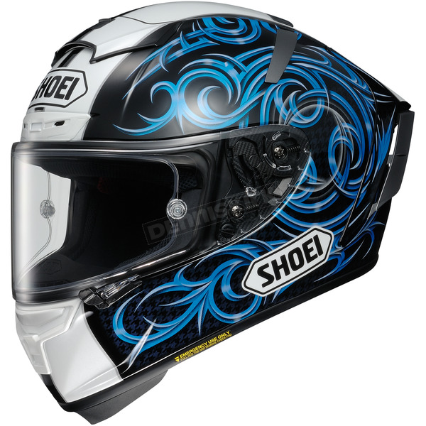 Shoei Helmets White/Black/Blue X-Fourteen Kagayama 5 TC-2 Helmet - 0104-1702-03