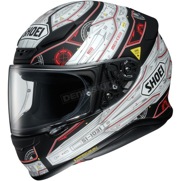Shoei Helmets Matte Black/White/Red RF-1200 Vessel TC-5 Helmet - 0109-2405-08
