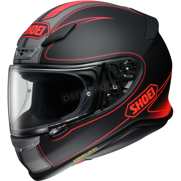 Shoei Helmets Matte Black/Hi-Viz Red RF-1200 Flagger TC-1 Helmet - 0109-3101-03