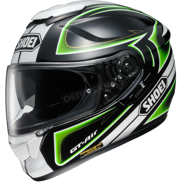 Shoei Helmets Black/White/Green GT-Air Expanse TC-4 Helmet - 0118-1704-08