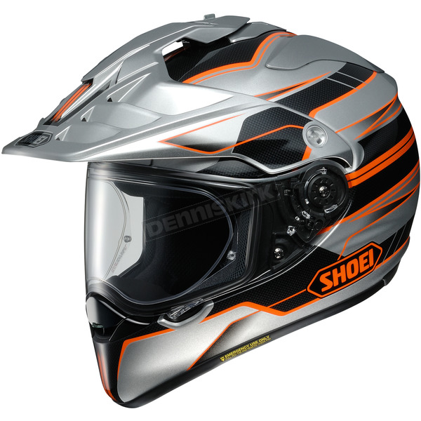 Shoei Helmets Silver/Black/Orange Hornet X2  Navigate TC-8 Helmet - 0124-1208-07