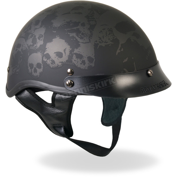Hot Leathers Matte Black Ancient Skulls Helmet - HLD10292XL