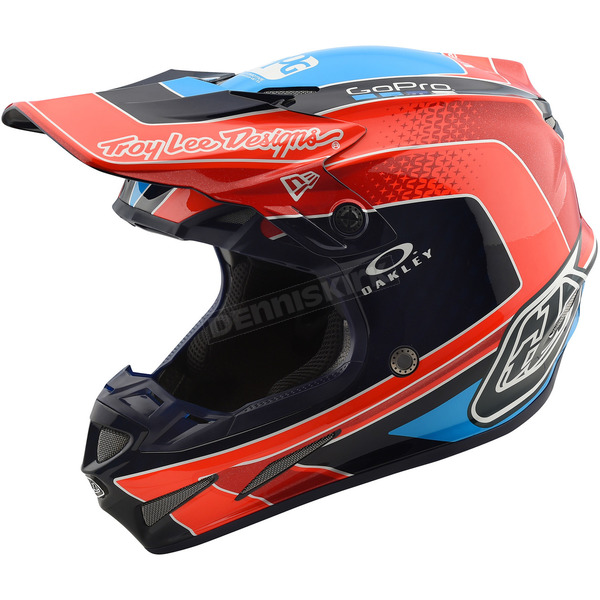 Troy Lee Designs Orange/Blue Squadra Team SE4 Carbon Helmet - 102195706
