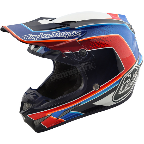 Troy Lee Designs White/Blue Squadra SE4 Carbon Helmet - 102195105