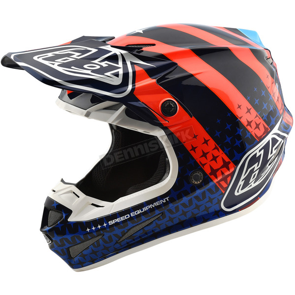 Troy Lee Designs Navy/Orange Streamline SE4 Carbon Helmet - 102404373