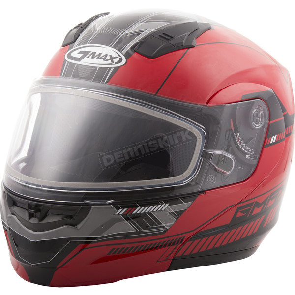 GMax Red/Black MD04 Quadrant Modular Snow Helmet w/Dual Lens Shield - G2041205 TC-1