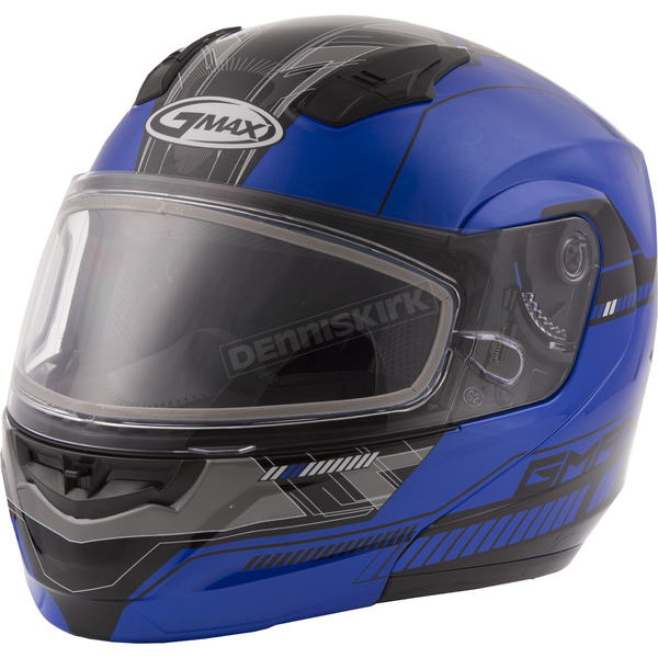 GMax Blue/Black MD04 Quadrant Modular Snow Helmet w/Dual Lens Shield - G2041215 TC-2