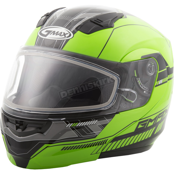 GMax Hi-Vis Green/Black MD04 Quadrant Modular Snow Helmet w/Dual Lens Shield - G2041676 TC-23