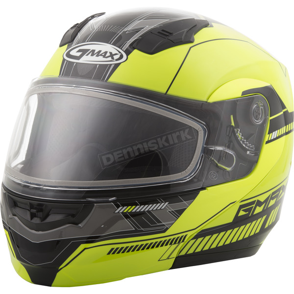 GMax Hi-Vis Yellow/Black MD04 Quadrant Modular Snow Helmet w/Dual Lens Shield - G2041684 TC-24