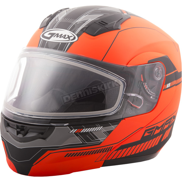 GMax Flat Hi-Vis Orange/Black MD04 Quadrant Modular Snow Helmet w/Dual Lens Shield - G2041698 TC-26