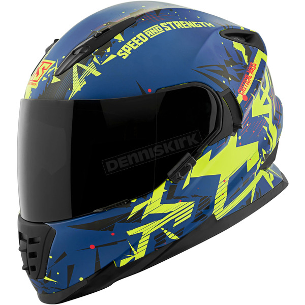 Speed and Strength Royal Blue/Yellow/Black Critical Mass SS1600 Helmet - 1111-0600-4352
