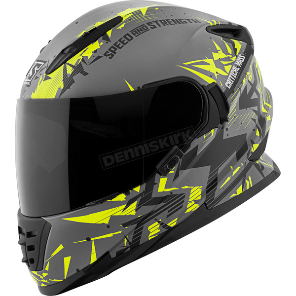 Speed and Strength Hi-Vis/Gray/Black Critical Mass SS1600 Helmet - 1111-0600-8152