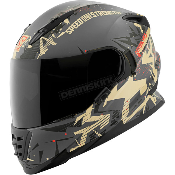 Speed and Strength Sand/Charcoal Critical Mass SS1600 Helmet - 1111-0600-1855