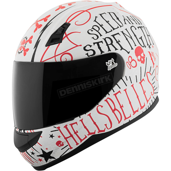 Speed and Strength Matte White/Red Hell's Belles SS700 Helmet - 1111-0603-0955