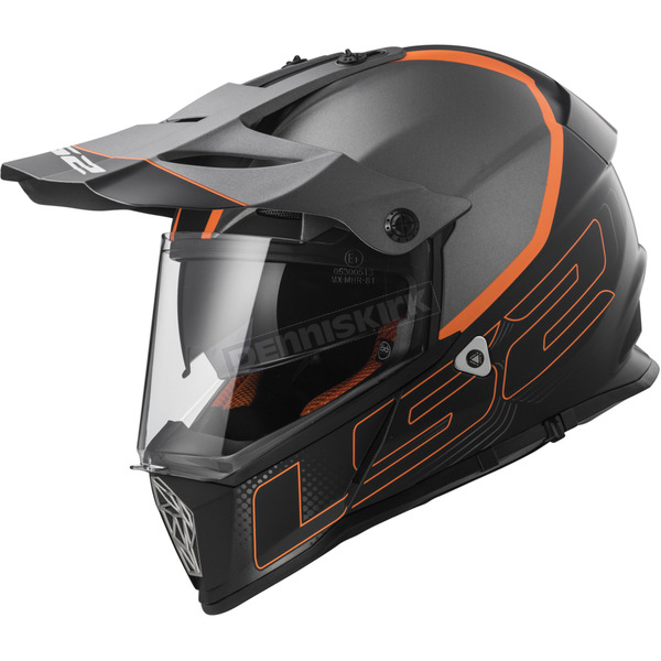 LS2 Gray/Orange MX436 Pioneer Element Helmet - 436-4004