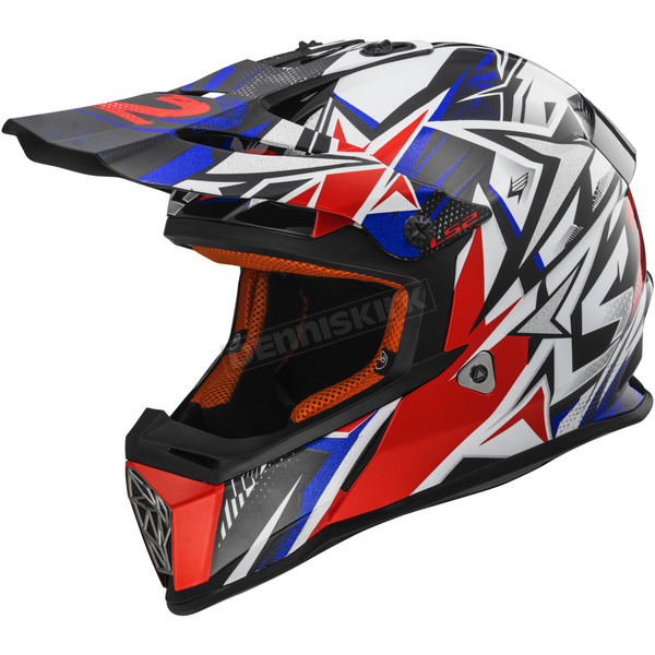 LS2 Blue/Red Fast Strong Helmet - 437-1307