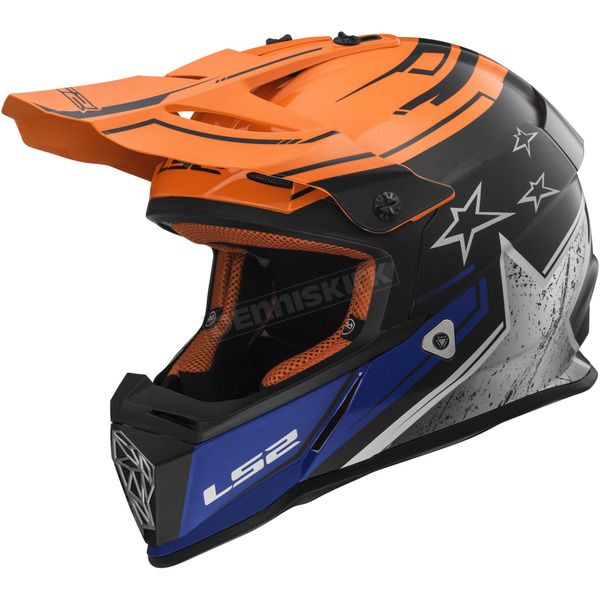 LS2 Chrome/Orange Fast Core Helmet - 437-1316