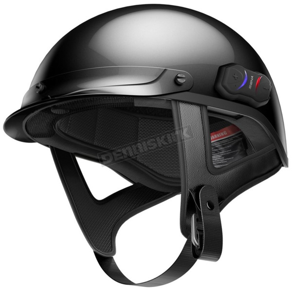 Sena Black Cavalry Half Helmet w/Bluetooth Communicator - CAVALRY-CL-GB-L