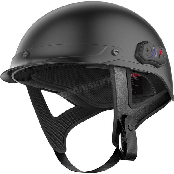 Sena Matte Black Cavalry Half Helmet w/Bluetooth Communicator - CAVALRY-CL-MB-L