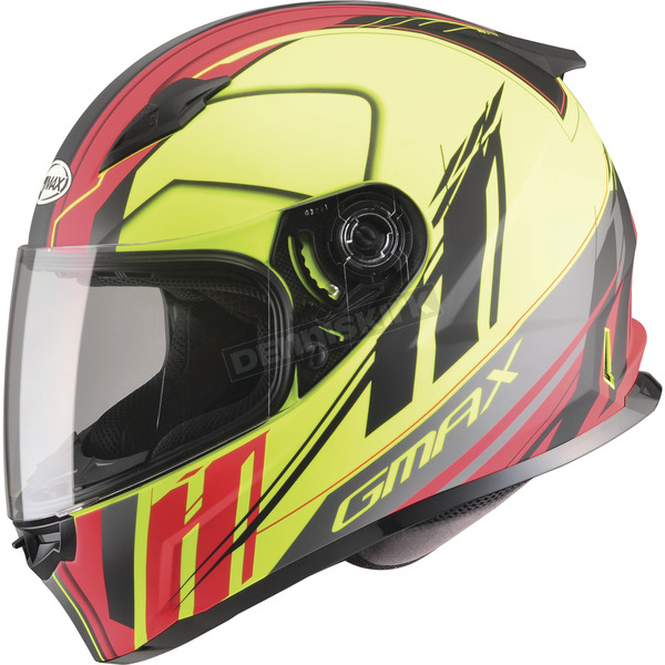 GMax Matte Black/Hi-Vis Yellow/Red FF49 Rogue Street Helmet - G7493683 F.TC-24
