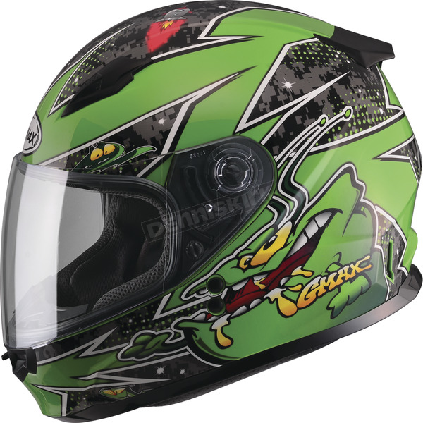 GMax Youth Black/Green GM49Y Alien Street Helmet - G7496221 TC-3