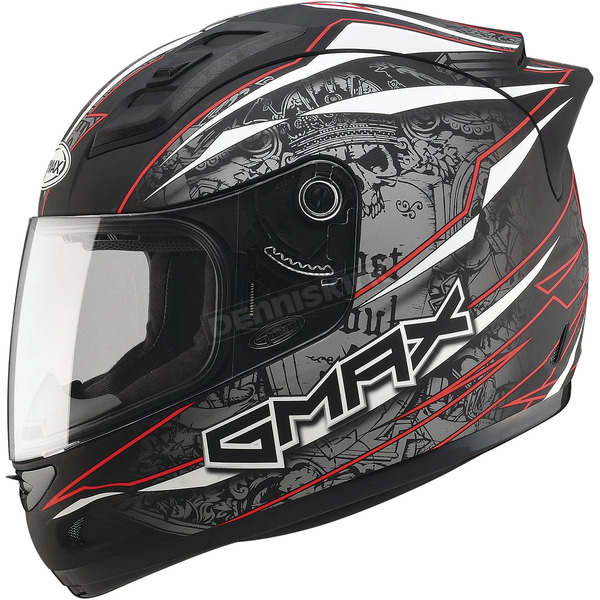GMax Matte Black/Silver/Red GM69 Mayhem Helmet - G7693206 TC-1