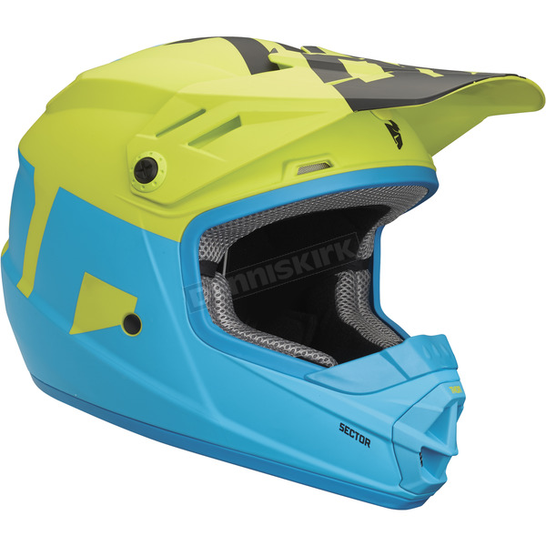 Thor Matte Electric Blue/Lime Youth Sector Level Helmet - 0111-1078