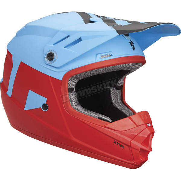 Thor Matte Powder Blue/Red Youth Sector Level Helmet - 0111-1082