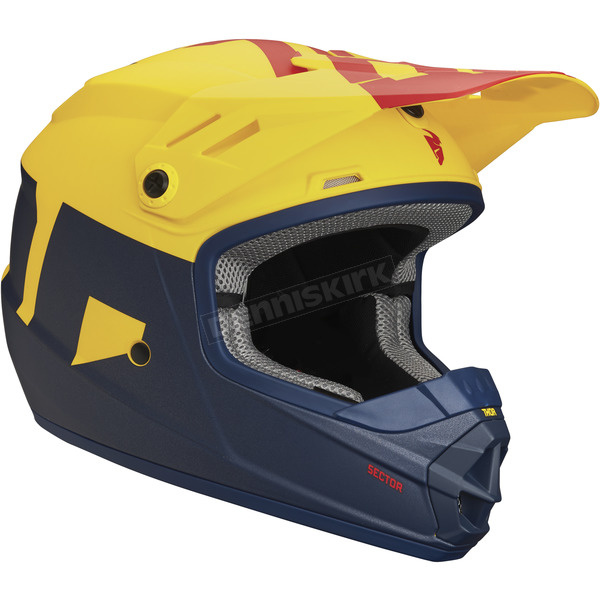 Thor Matte Navy/Yellow Youth Sector Level Helmet - 0111-1084