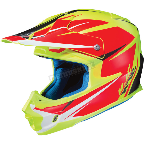 HJC Hi Viz Yellow/Semi-Flat Red FG-MX Axis MC-3HSF Helmet - 360-736