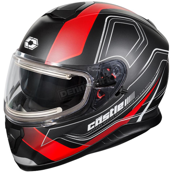 Castle X Matte Red Thunder 3 SV Trace Snow Helmet w/Electric Shield - 36-21418