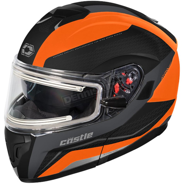Castle X Matte Flo Orange Atom SV Tarmac Modular Snow Helmet w/Electric Shield - 36-23368